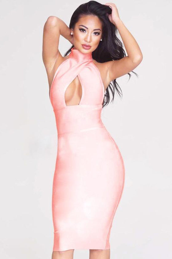 Nude Cross Over Bodycon Dress