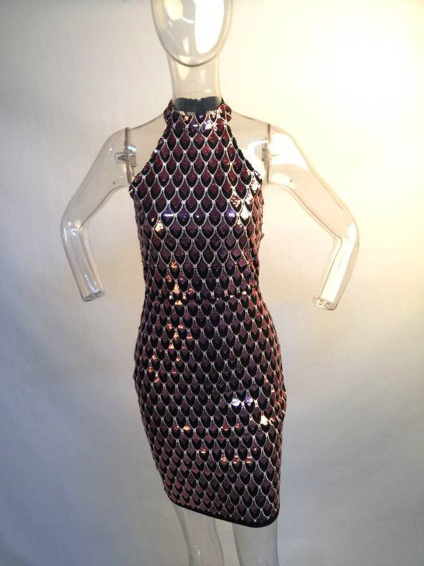 Halter Sparkly Scale Sequin Dress