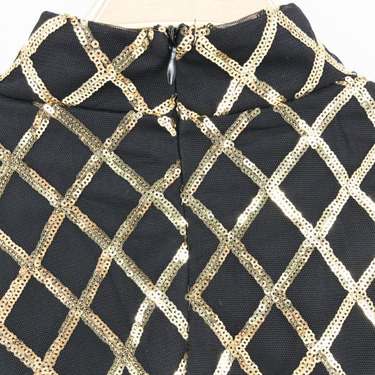 Net Pattern Sequin Dress