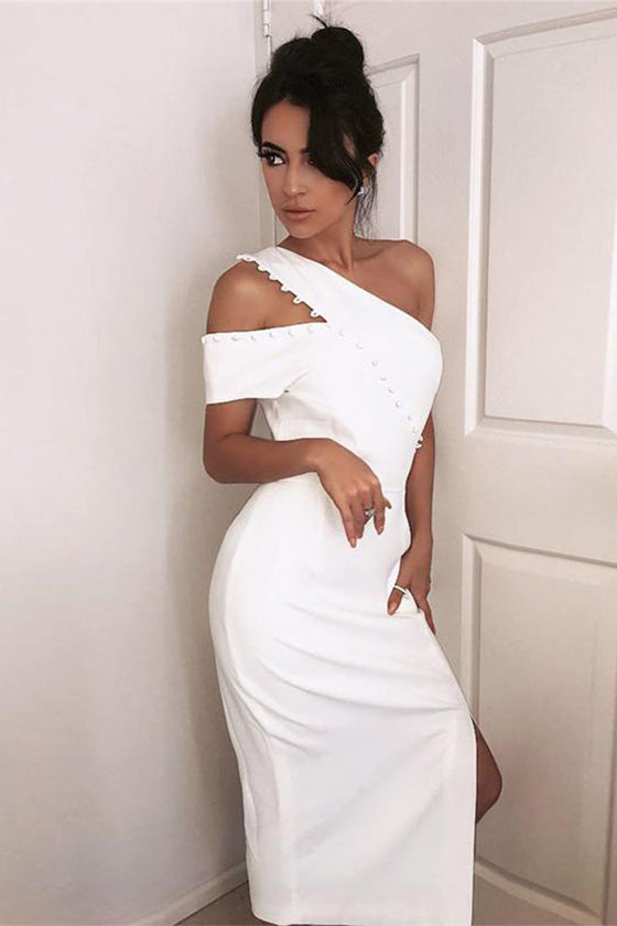 One Shoulder Midi Prom Dress