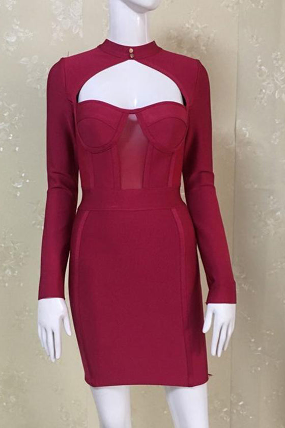 Hollow Burgundy Bandage Dress