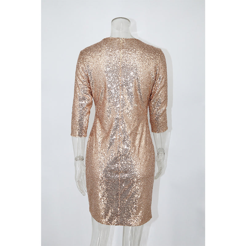 Mid Sleeves Silver Glitter Dress