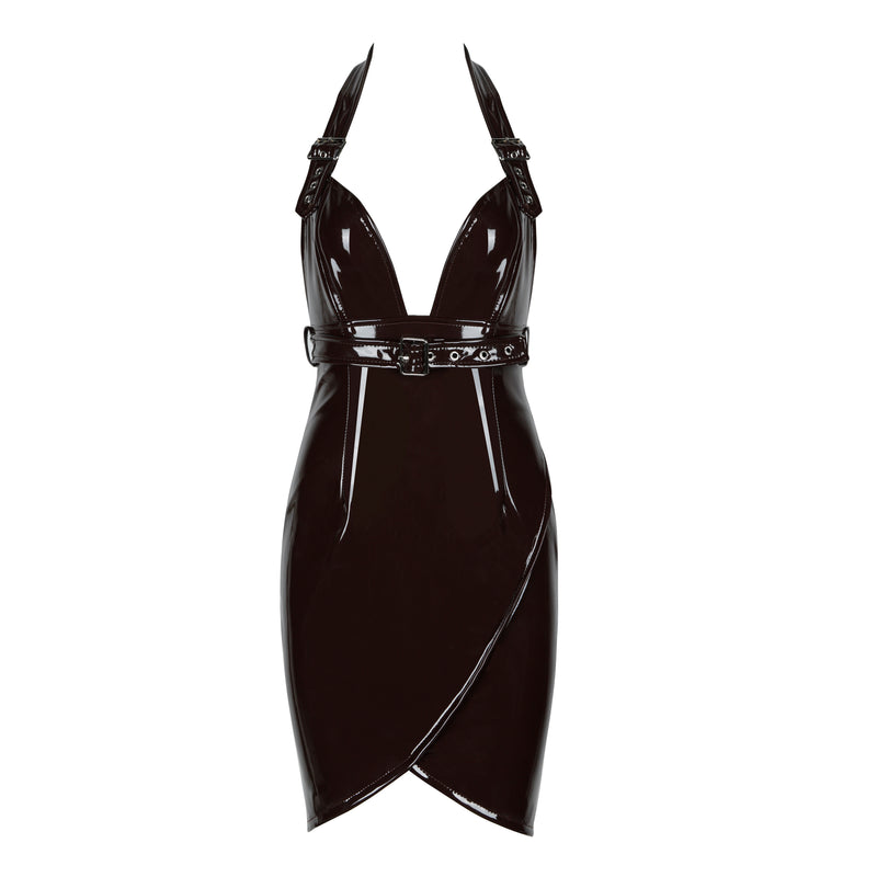 High Quality Sexy V neck Leather Dress