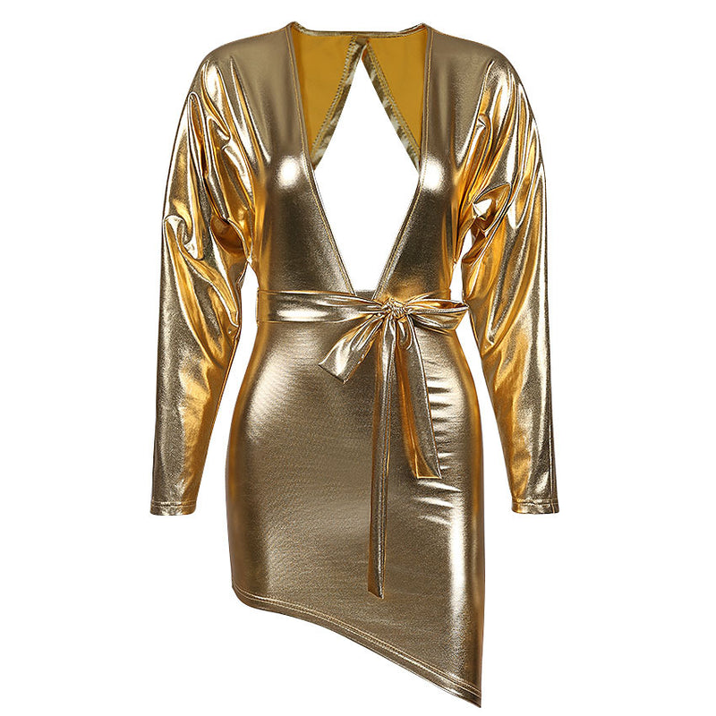 Sexy Gold Hollow Leather Dress