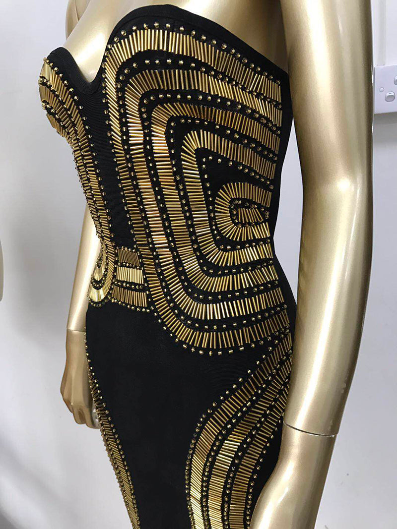 Strapless Sequin Dress with Studds