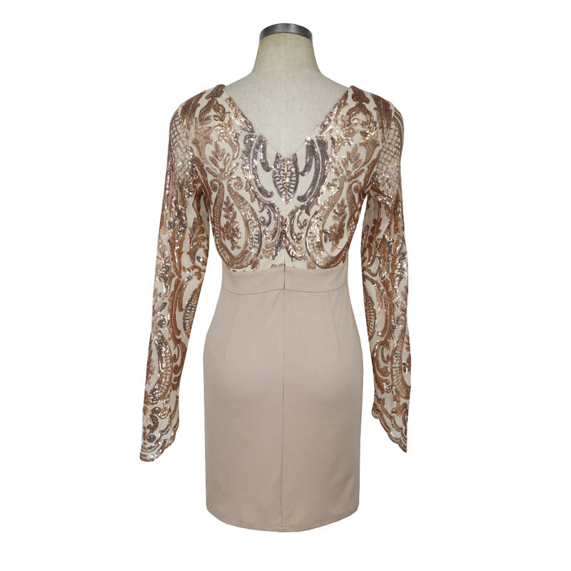 Long Sleeves Nude Sequin Dress