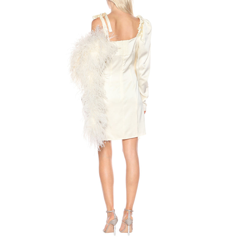 Off-the-shoulde Feather Silk Short Dress