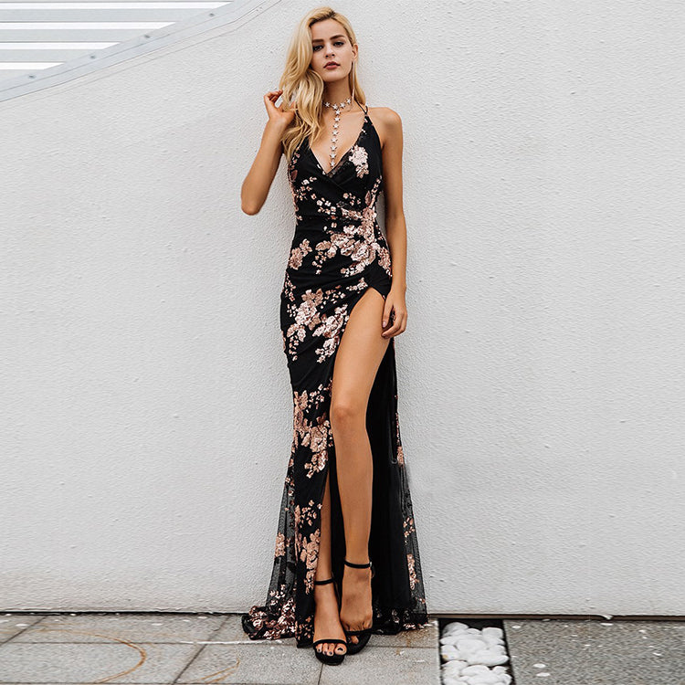 Black Long Dress Sequin Details