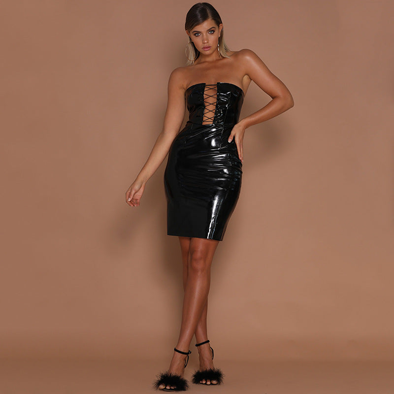 Sexy Hollow Leathery Dress for Nightclub