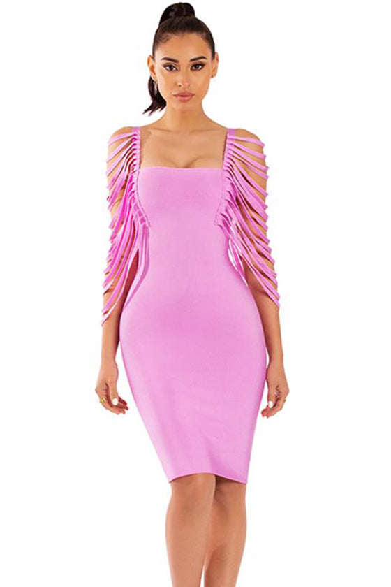 Pink Strips Details Going Out Dress