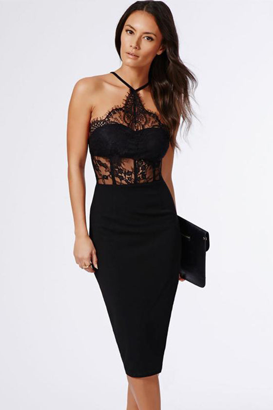 Black Halter Lace Bandage Dress