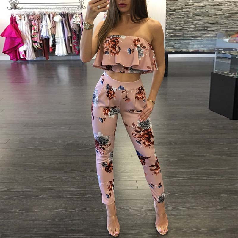 Two Piece Colorful Print Jumpsuit