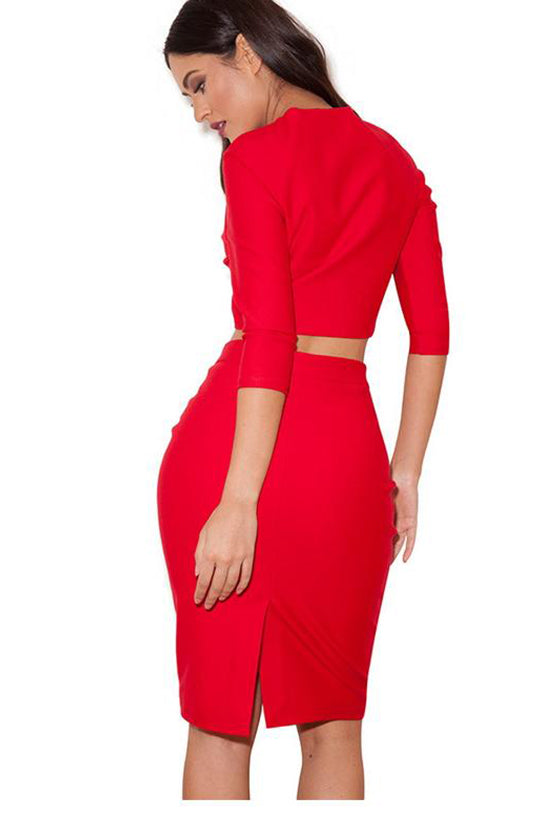 Long Sleeves Two Pieces Bodycon Dress Red