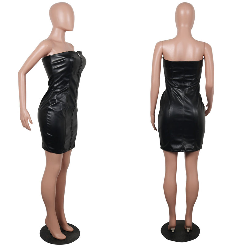 Strapless Mini Leather Prom Dress