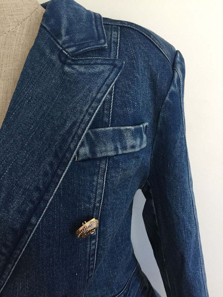 Long Sleeve Denim Suit Slim Jacket