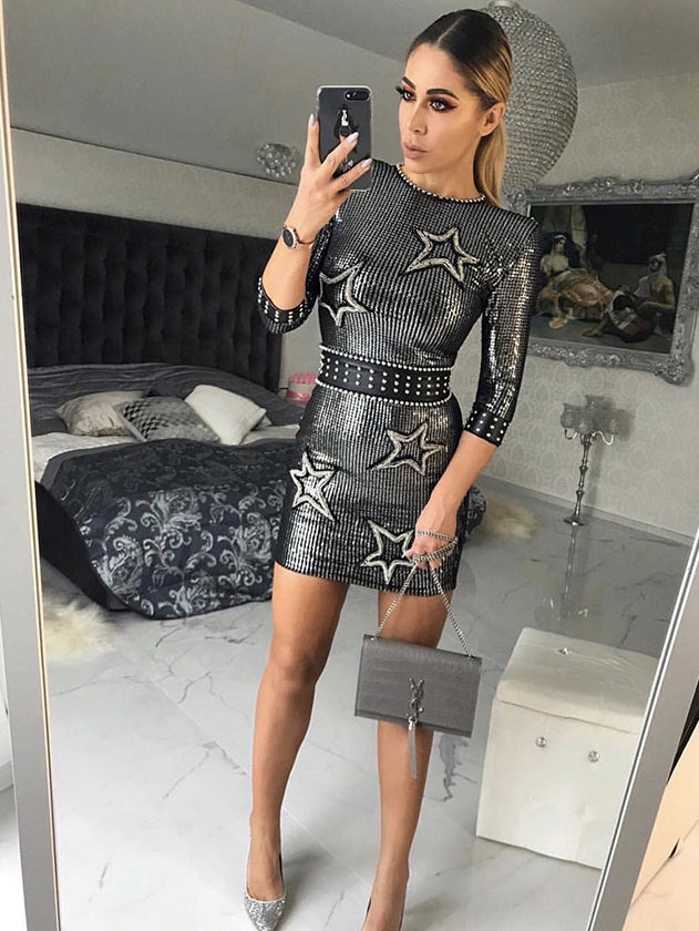 the latest style bodycon mini dress full with sequins
