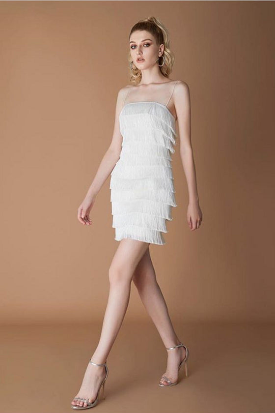 White Ruffles Bandage Dress #XL739