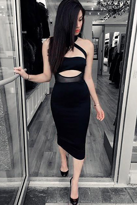Black Halter Hollow Party Dress
