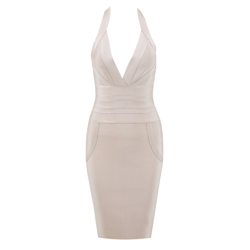 Nude Halter Bandage dress