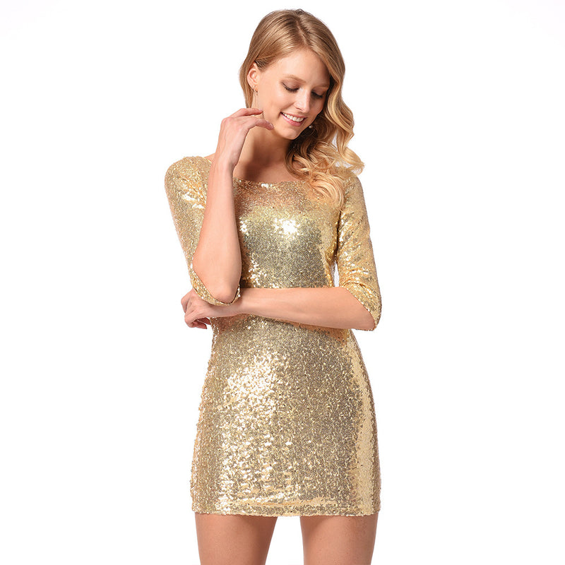 Mid Sleeves Gold Glitter Dress