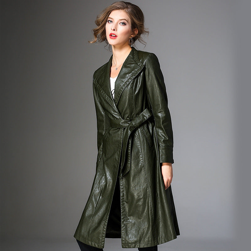 Long Sleeves Fashion Leather Coat
