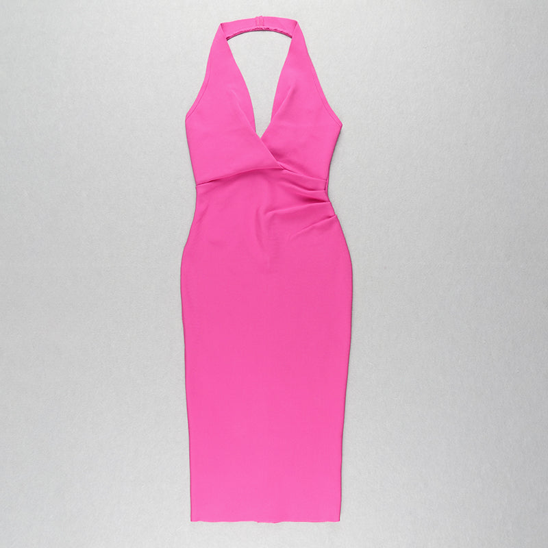 Pink V-neck Backless Bandage Dress