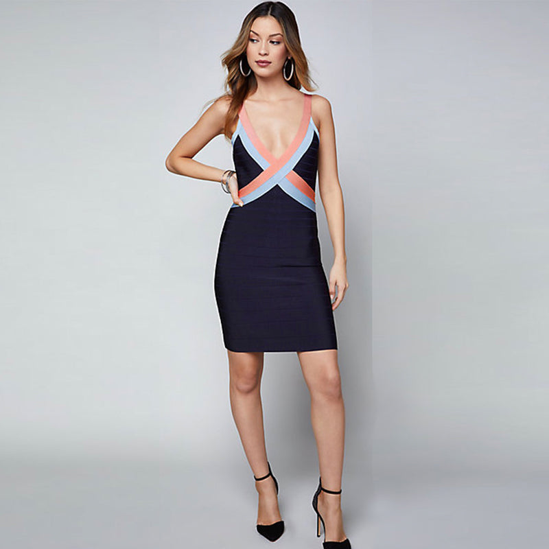 Deep V Fashion Bodycon Dress