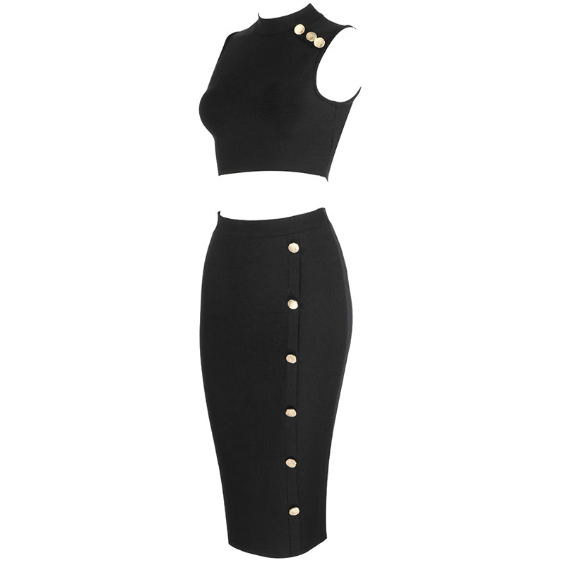 Bandage Crop Tops and Midi Pencil Skirt