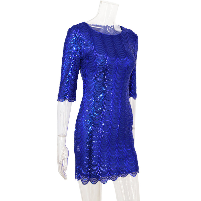 Royal Sparkle Sequin Dress