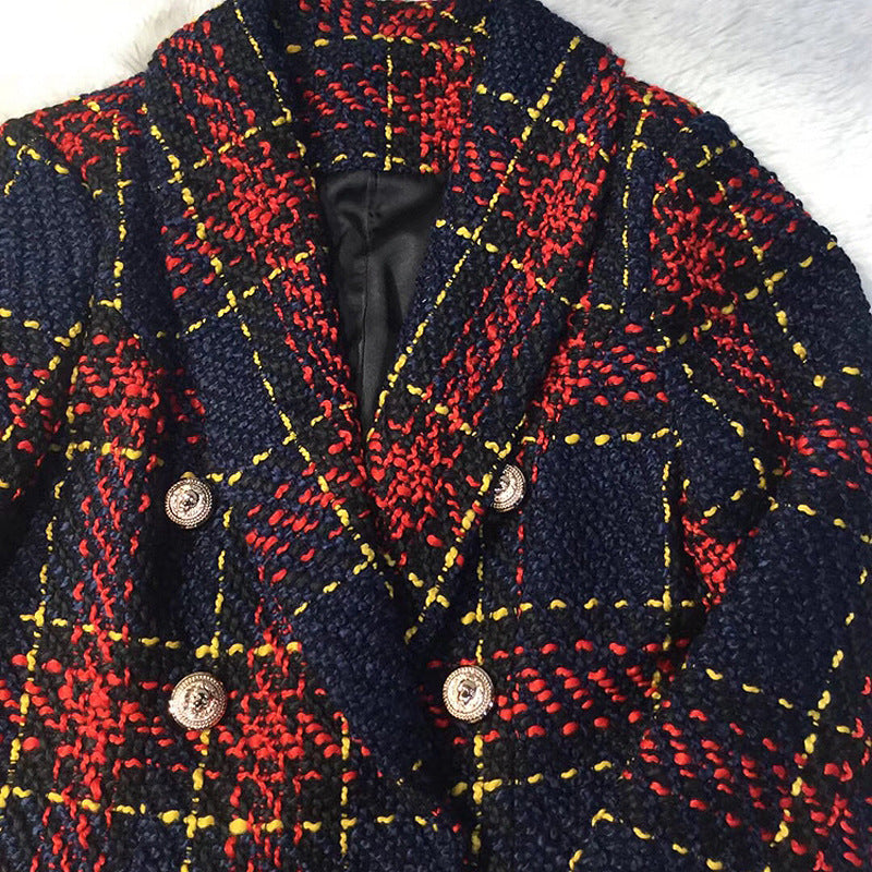 Women's Jacket Line Plaid  Weave Blazer