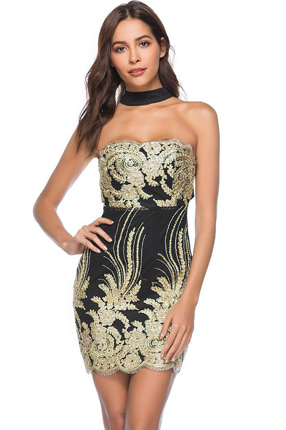Flower Pattern Sequin Dress
