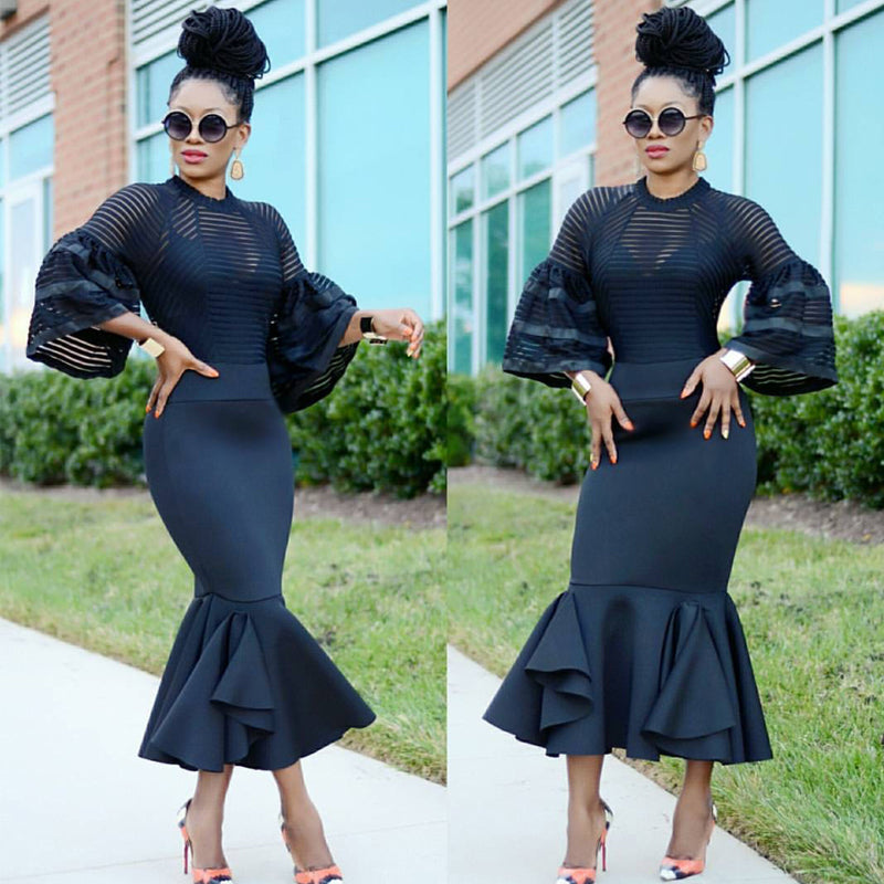 Black Long Sleeves Mermaid Trim Fashion Dress