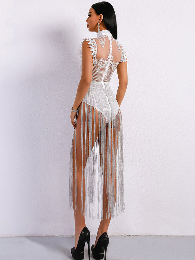 Sexy See Through Lace Dress Tassel Details