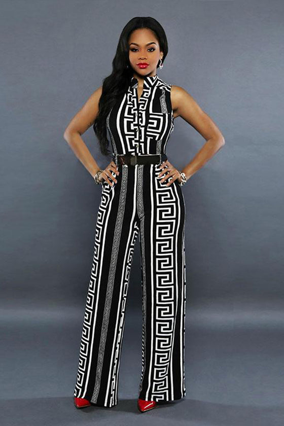 Halter Black&white Pattern Jumpsuit
