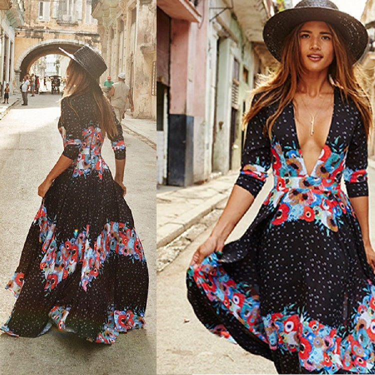 Deep V Chiffon Maxi Dress