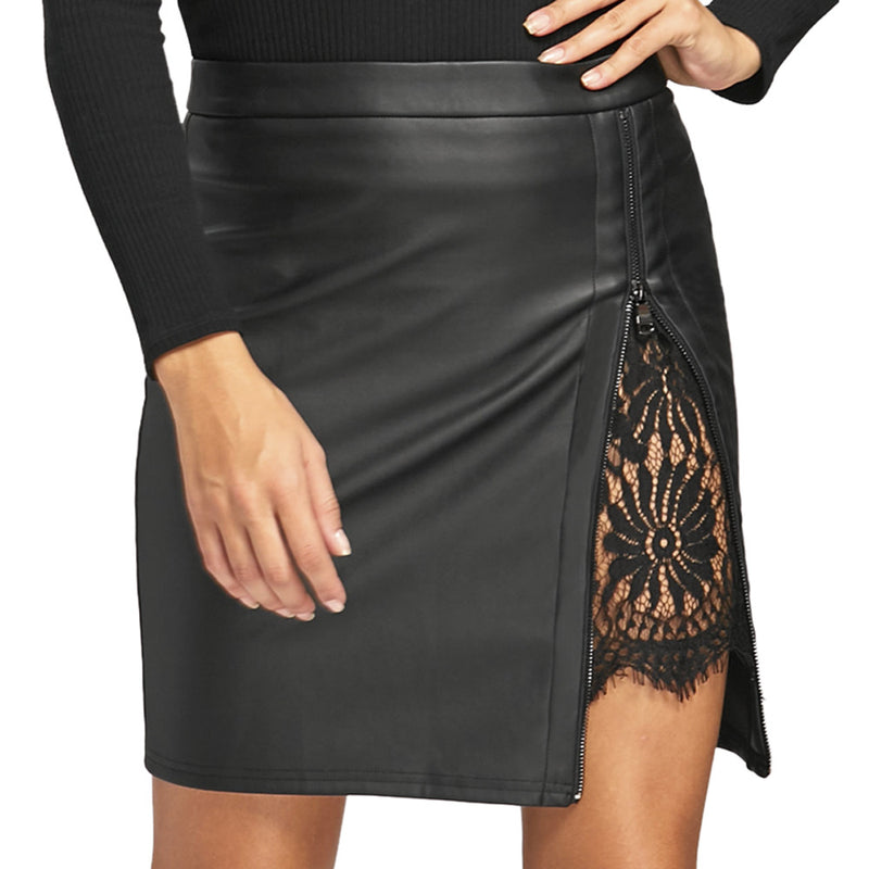 Women Short PU Skirt with Lace Feature