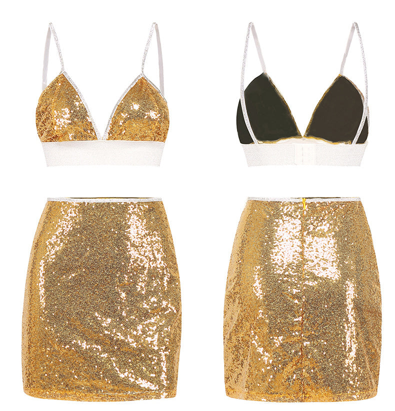 Two Pieces Gold Sparkly Dress