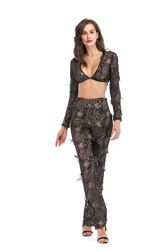 2 Pieces Jumpsuit with Sequin Details