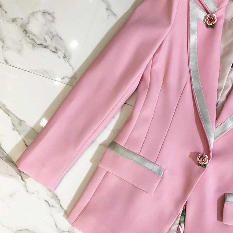 Print Lined With Pink Slim Jacket Suit