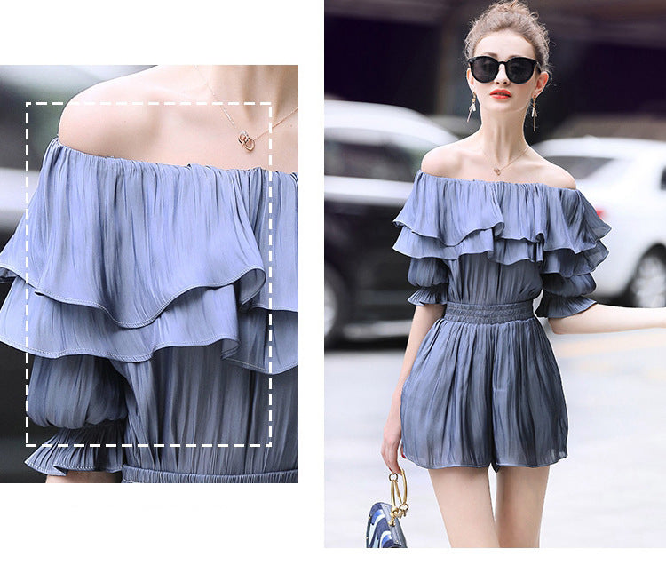 Off Shoulder Ruffled Satin Blouse + Shorts Fashion Suit