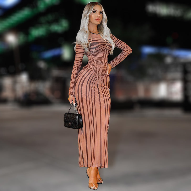 Long Sleeve Striped Slim Dress