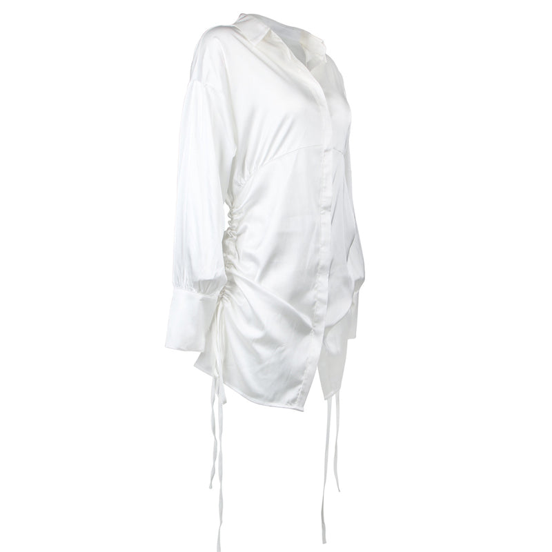 Long Sleeve White Mini Shirt Dress