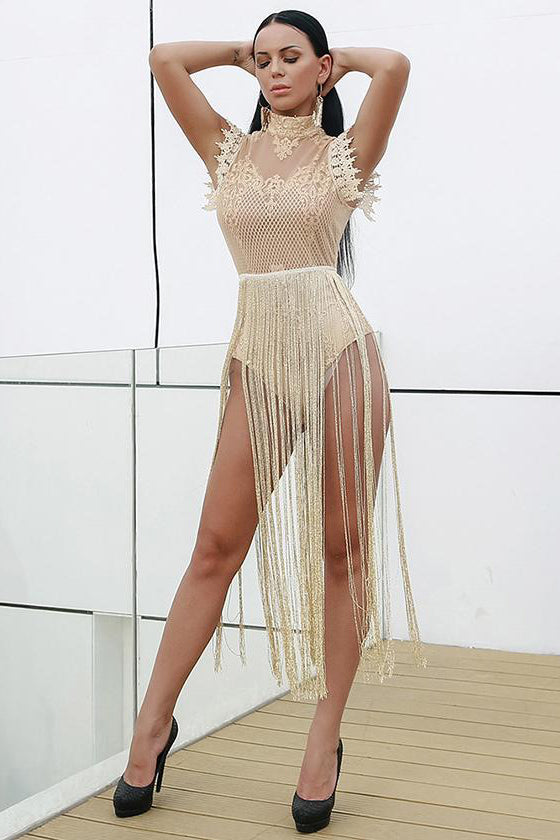 Sexy See-through Lace Dress Tassel Details Black