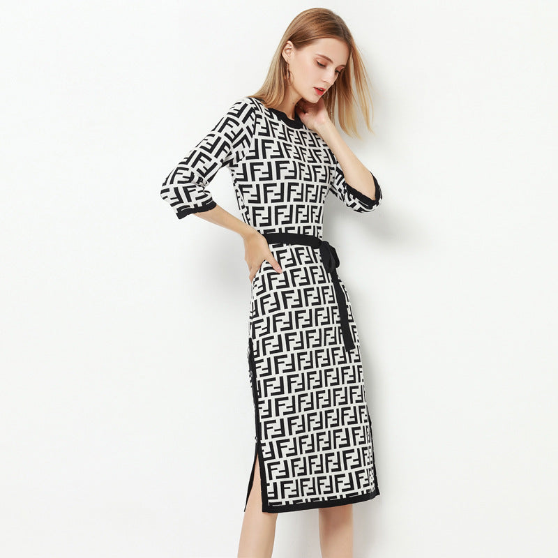 Women Wool Blend Letter Knit Dress