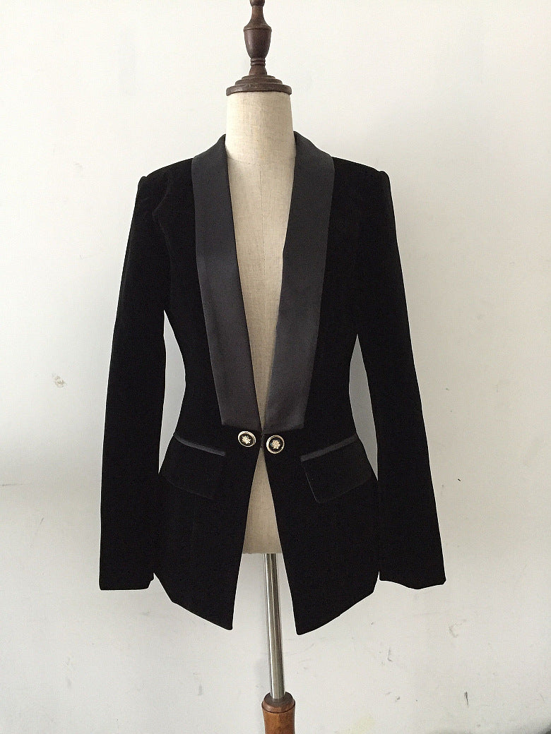 Slim Velvet Suit Jacket Female