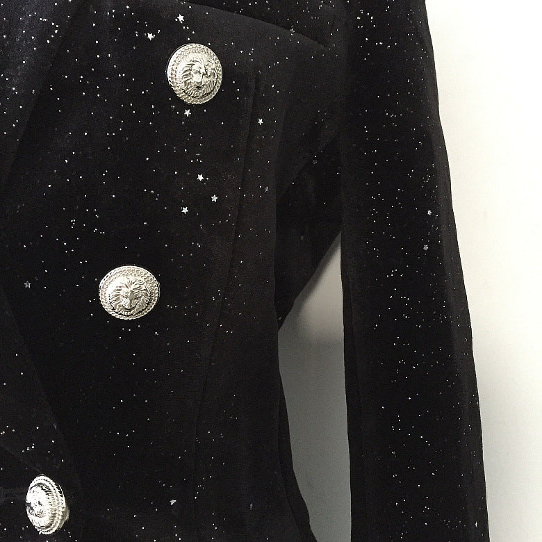 Long Sleeve Sequins Suit Jacket Female