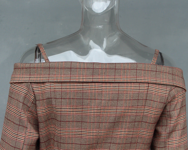 Strapless Long-sleeved Plaid Suit Jacket