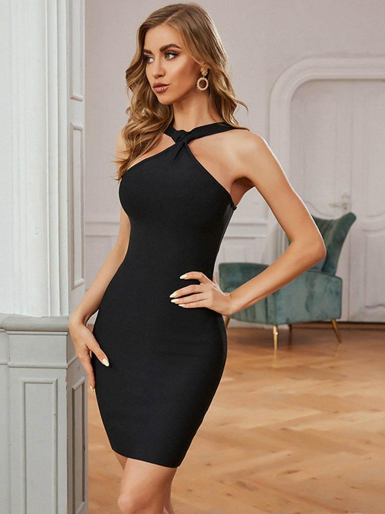 Black Sleeveless Halter Sexy Women Boydocn Bandage Dress