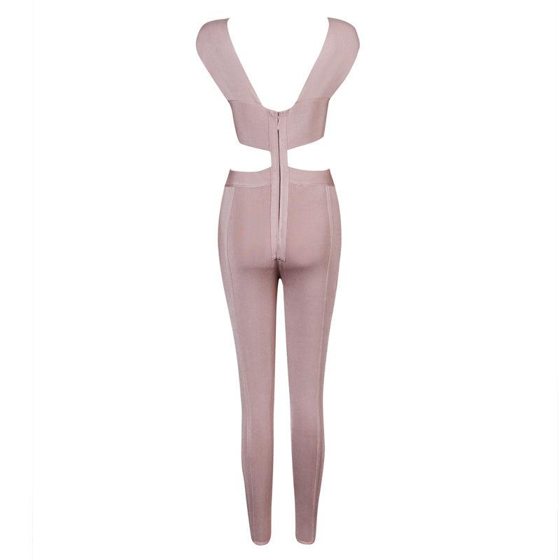 Cross Straps Open Back Bandage Jumpsuit