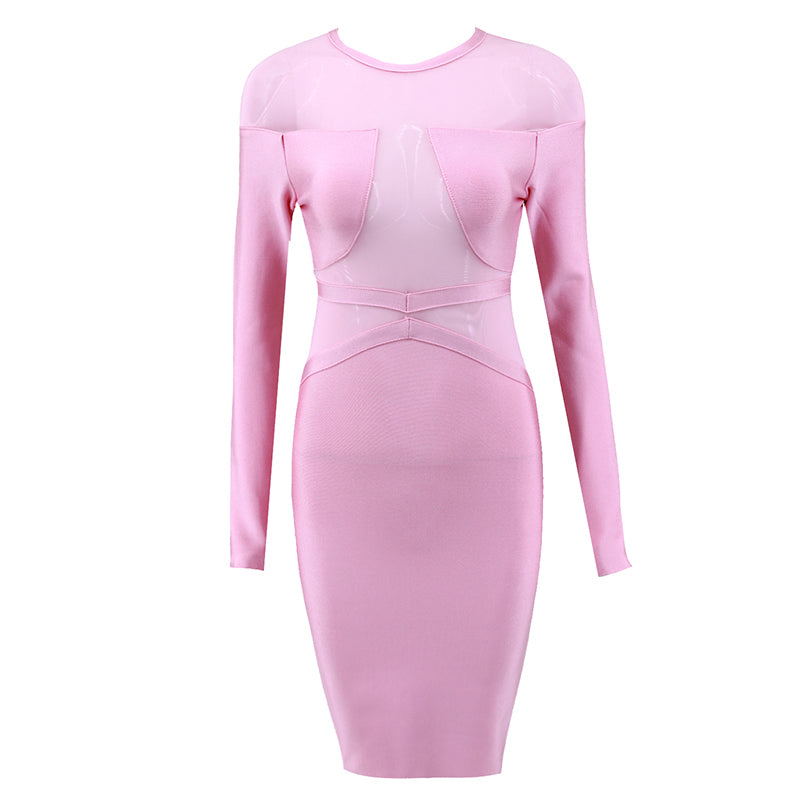 Pink See-Through Bodycon Bandage Dress